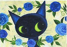 青バラと猫  (マイコレはポチ押す)の画像(プリ画像)