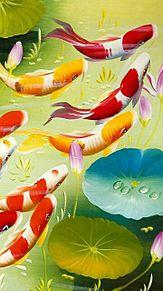蓮に錦鯉  (マイコレはポチ押す)の画像(プリ画像)