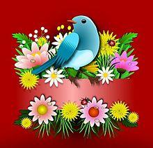 お花畑に青い鳥  (マイコレはポチ押す)の画像(プリ画像)
