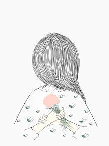 女の子  イラスト  後ろ姿の画像(花に関連した画像)
