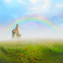 ファンタジー  草原  お城  虹🌈 プリ画像