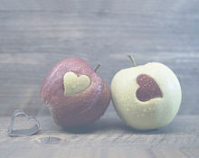 ペア  ハート  林檎🍎🍏  アップルの画像(りんごに関連した画像)
