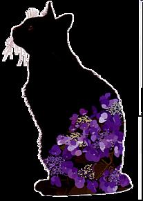 スタンプ*黒猫に紫陽花   (説明文 必読)の画像(プリ画像)