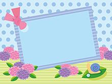 フレーム*紫陽花にカタツムリ   (説明文 必読)の画像(プリ画像)