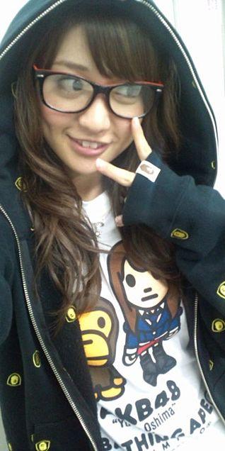 大島優子コリスメガネ A BATHING APE  チームK AKB48の画像(プリ画像)