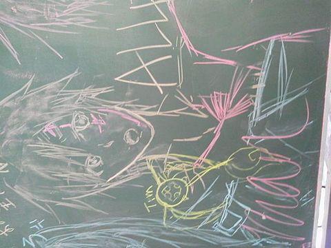 黒板に落書きの画像 プリ画像