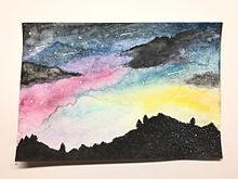 星空の画像(水彩画に関連した画像)