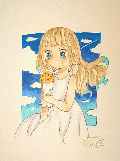 夏っぽい女の子の画像(プリ画像)