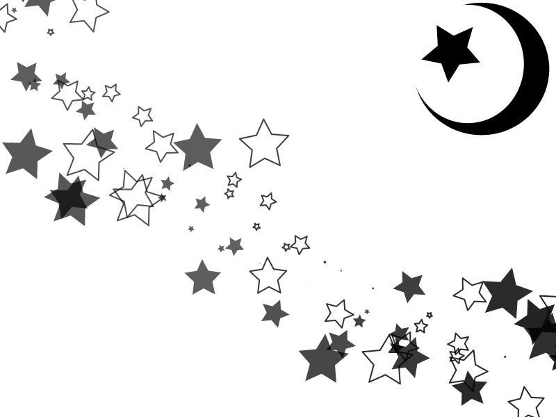 白黒 星 月 素材[43191387] | 完全 ...