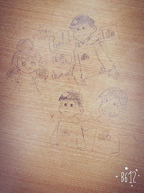 机の上の落書き松♡の画像(プリ画像)