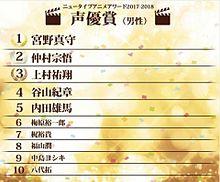 ニュータイプアニメアワード2017~2018 声優賞(男性) プリ画像