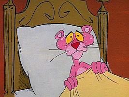 寝坊して焦っているピンクパンサーです。