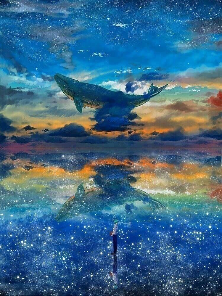 夕暮れの空とクジラ