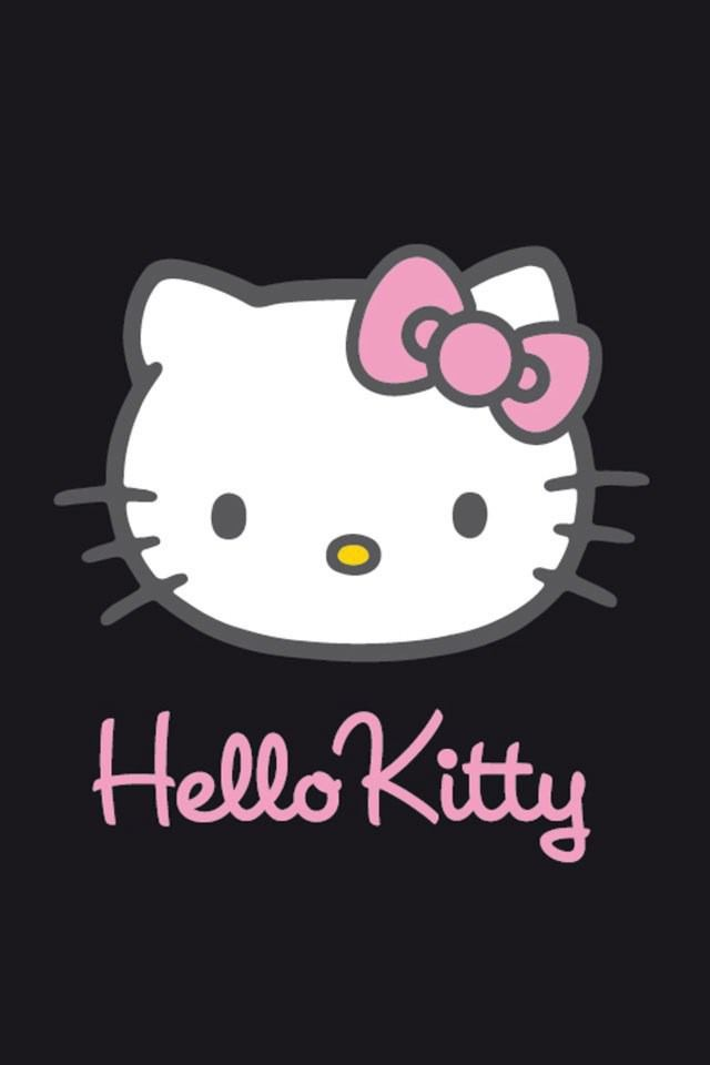 Hello Kitty Face Black Background