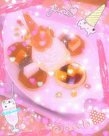 スイーツパンケーキ ピンク加工 デコレートの画像(プリ画像)