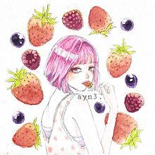苺無敵の画像(イラスト 女の子に関連した画像)
