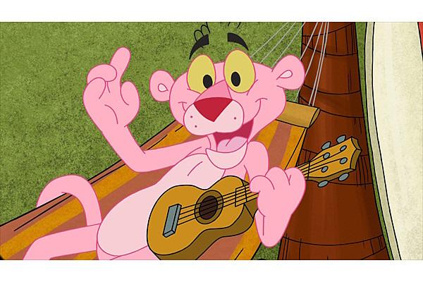 ハンモックでウクレレを弾いているピンクパンサーです。