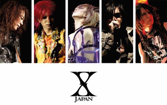 メンバー5人の写真が並んでいる壁紙仕様のX JAPANの画像