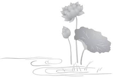 蓮のモノクロイラストの画像(プリ画像)