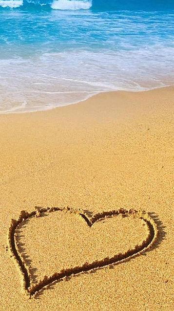 かわいい 海 ビーチ ハート おしゃれ 壁紙の画像 プリ画像