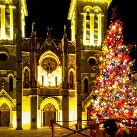 クリスマスツリー/黄色/建物/夜景/キレイ/キラキラの画像(プリ画像)