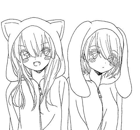 猫さんと兎さんの画像(プリ画像)