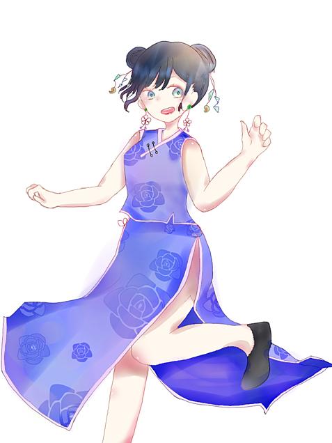 チャイナドレス(青バージョン)の画像 プリ画像