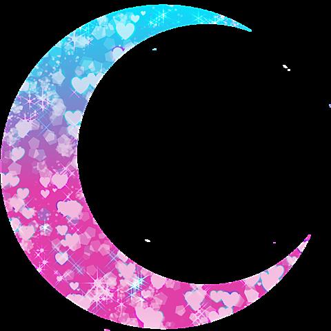 月加工素材(ピンク&水色)の画像 プリ画像