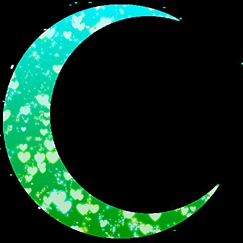 月加工素材(緑&水色)の画像 プリ画像