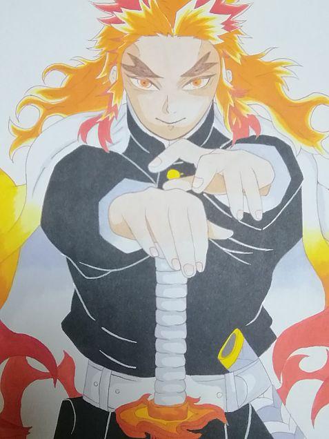 煉獄杏寿郎  模写の画像(プリ画像)