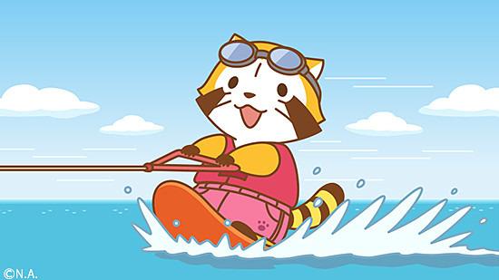 水上スキーをするラスカル