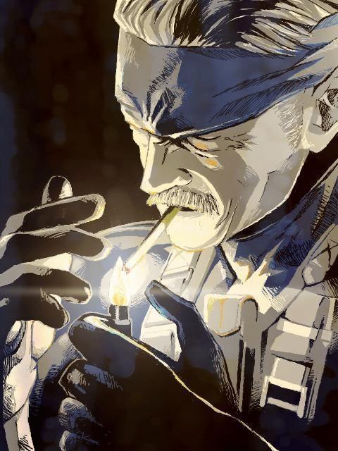 煙草に火をつけるスネーク