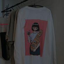 おしゃれ イラスト 女の子 洋服 暗め カフェ スケートボードの画像(洋服に関連した画像)
