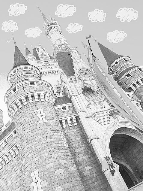 ディズニーランド モノトーンの画像(プリ画像)