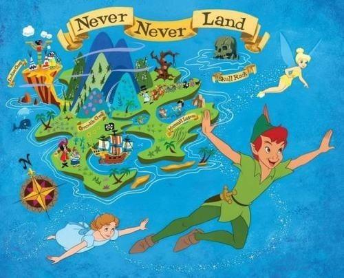 ネバーランドの地図とウエンディとピーターパンです。