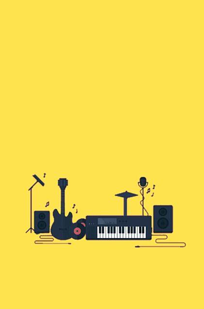 楽器*エレキ*黄色 素材の画像(プリ画像)