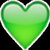 絵文字 ハート(緑) 背景透過 プリ画像