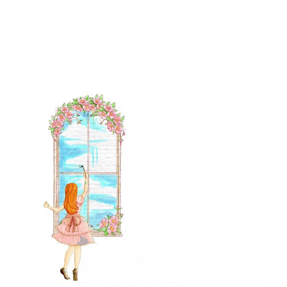 女の子 後ろ姿 かわいい イラストお絵かきお花トプ画ホーム画面