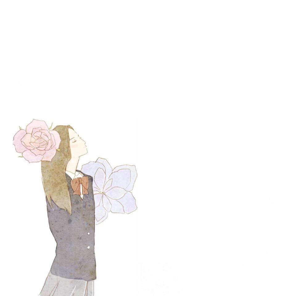 女の人 花 かわいい 学生 イラスト シンプル[48773474]|完全無料画像