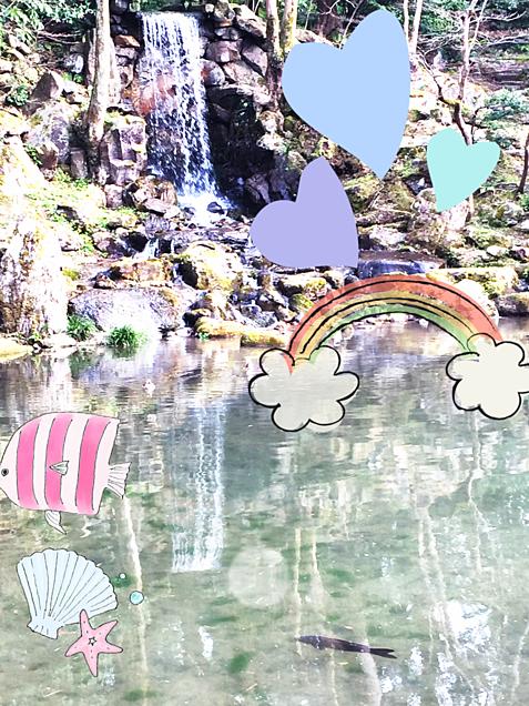滝と鯉の画像(プリ画像)