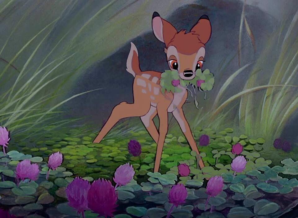 花を摘むバンビ