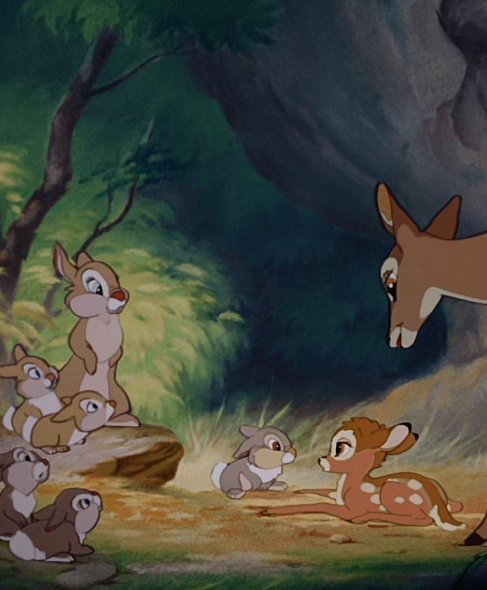 母と子ウサギとバンビ