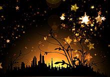 星空と街のシルエットの画像(プリ画像)