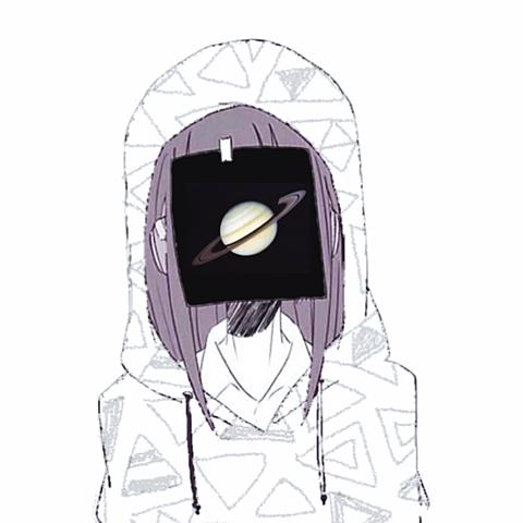 土星とガールの画像(プリ画像)