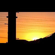夕日 夕方 太陽 原画 待ち受け 空 プリ画像