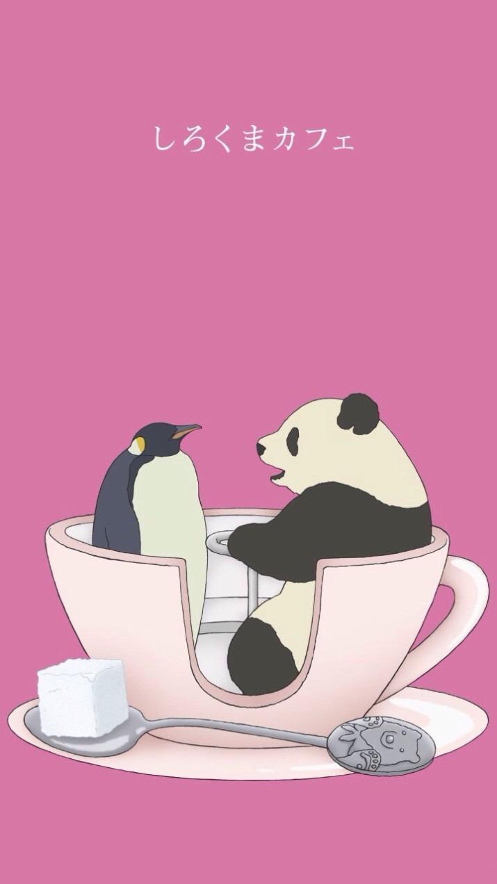 しろくまカフェのキャラクターパンダくんとペンギンさんの壁紙
