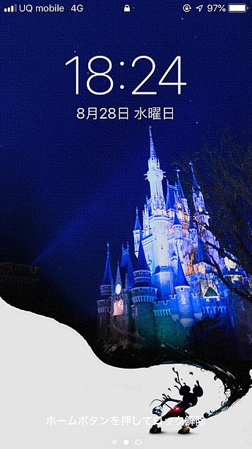 iPhone ロック画面 ミッキー シンデレラ城 使用感の画像 プリ画像