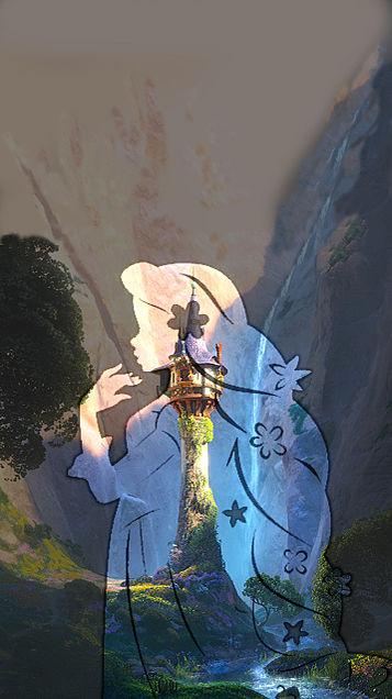 iPhoneロック画面 ラプンツェルと塔