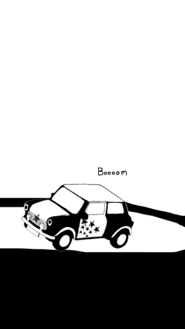 シンプルな車のモノクロ・白黒写真の壁紙