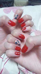 赤×レオパードネイル♪の画像(レオパードネイルに関連した画像)